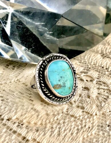 Vintage Sterling Silver Turquoise Blue Stone Native American Ring Size 6