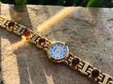 Designer La Sands Gold Tone Abalone Amber Stone Stainless Steel Quartz Watch