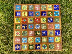 Antique Vintage Arts & Crafts Artisan Handmade Ceramic Art Tile Short Wood Table
