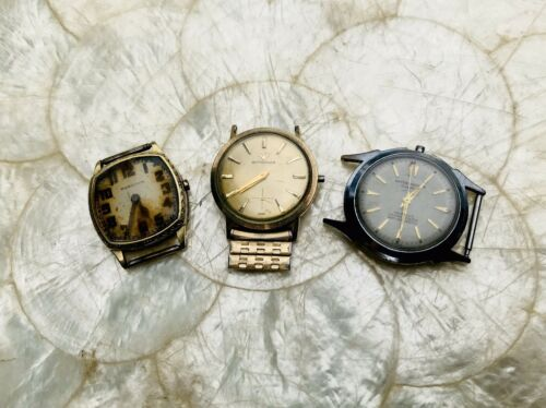 Antique Vintage 14K GF Hamilton, Wittnauer Swiss + Water Shedder Watch Lot of 3