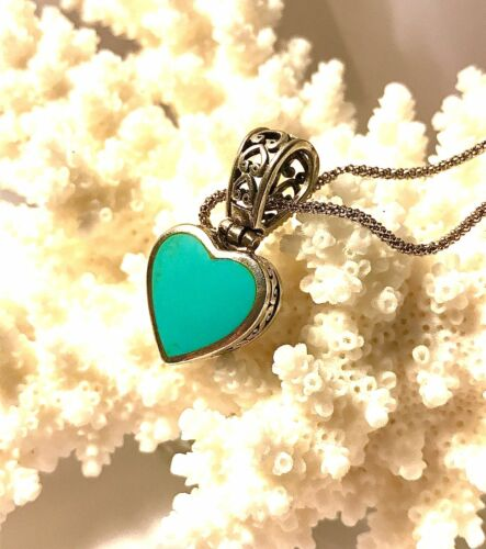 Vintage Sterling Silver Signed 925 Blue Turquoise Stone Heart Pendant Necklace
