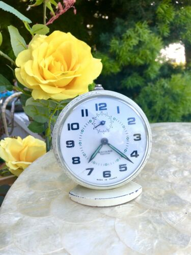 Vintage Antique Bayard Repetition White Alarm Clock Mechanical Watch France Runs