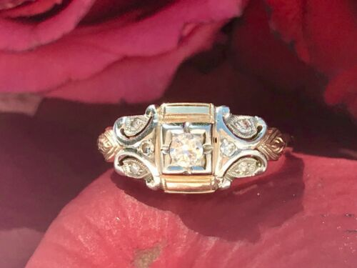 Antique Art Deco 14k Gold Two Tone Yellow White Gold European Cut Diamond Ring