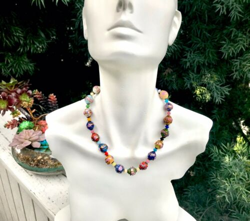 Murano Venetian Wedding Cake Floral Art Glass Italian Bead Necklace Vintage