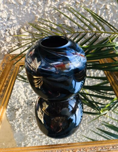 1982 Signed Artist C Darcia Mouth Blown Glass Art Blue Vase