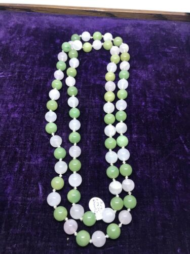 Vintage Jade And Rose Quartz Beaded Necklace