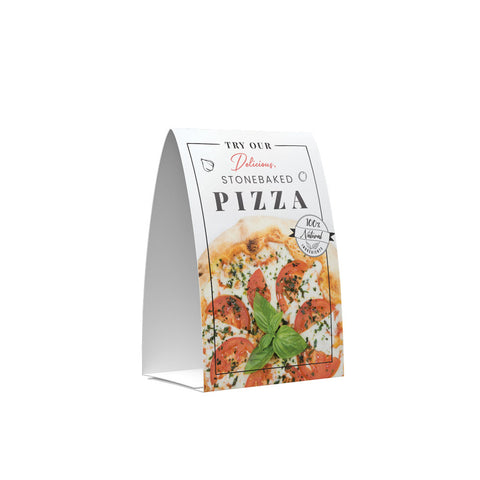 STONE BAKED PIZZAS POS COLLECTION TENT CARD SIDE 1