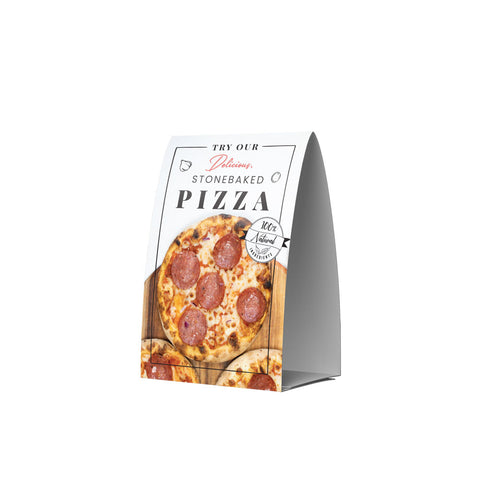 STONE BAKED PIZZAS POS COLLECTION TENT CARD SIDE 2