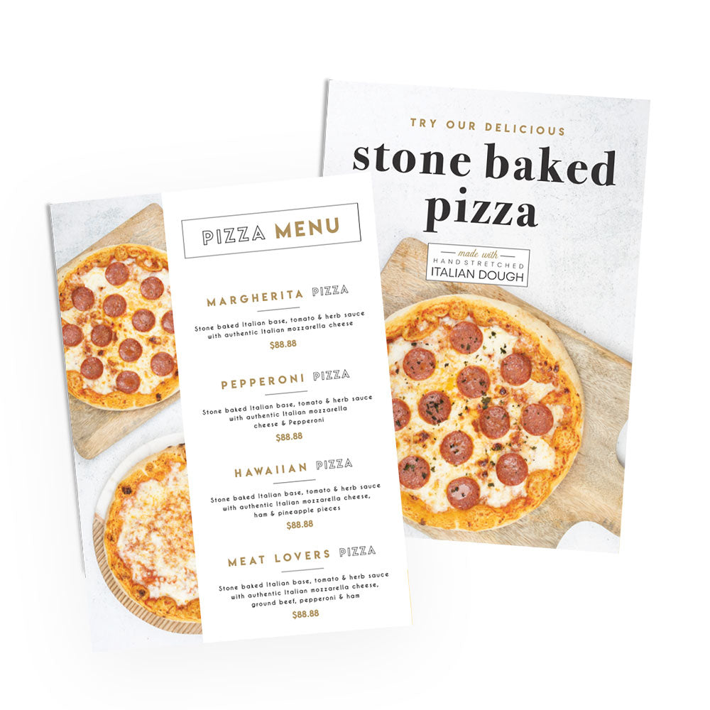 Stone Baked Pizza Menu & Awareness Posters