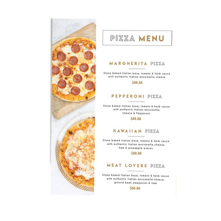 Stone Baked Pizza Editable Menu Poster