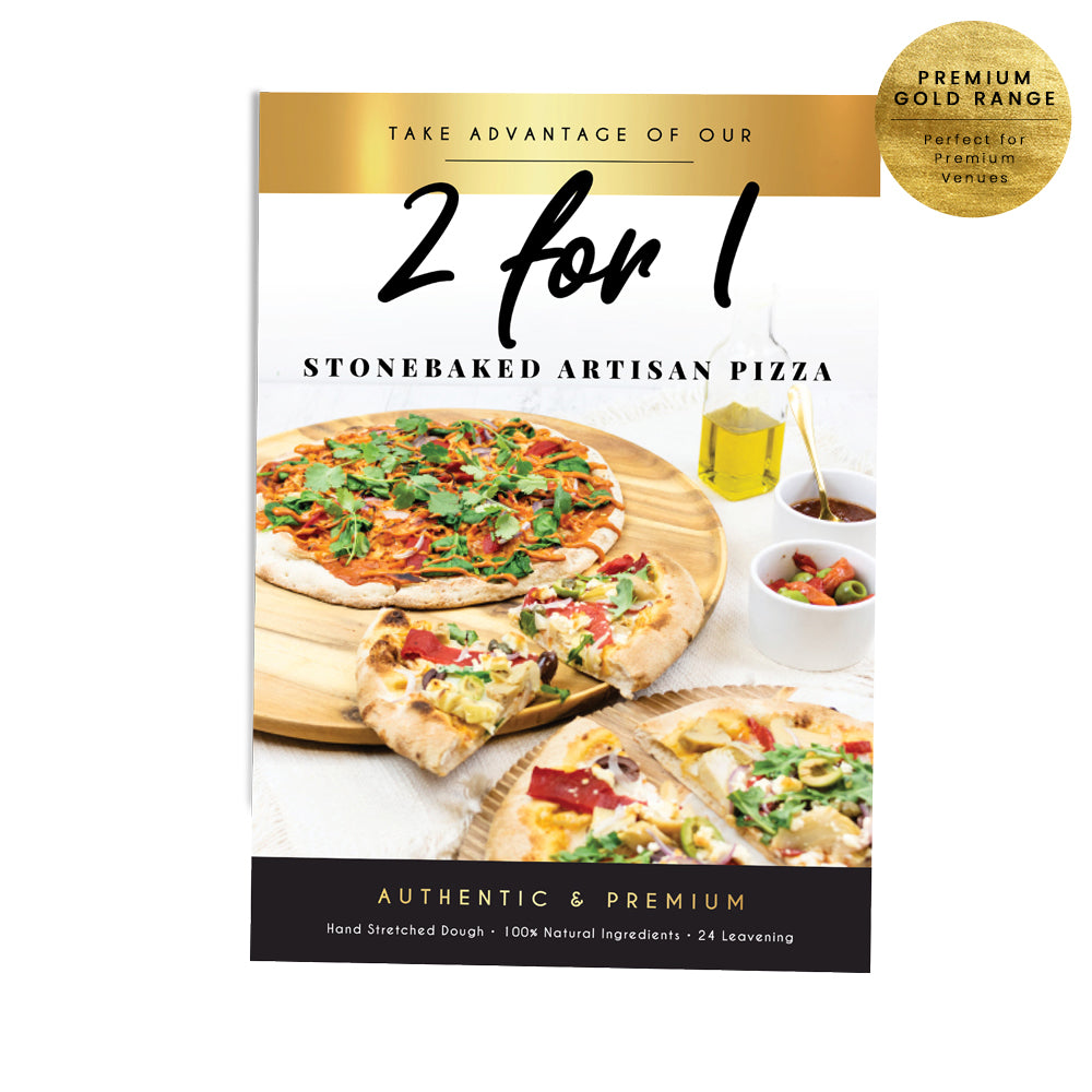 2 for 1 Stone Baked Pizza Poster - Premium Gold