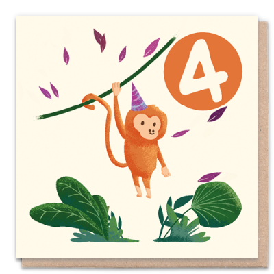 Greeting Card - 4 Year Monkey