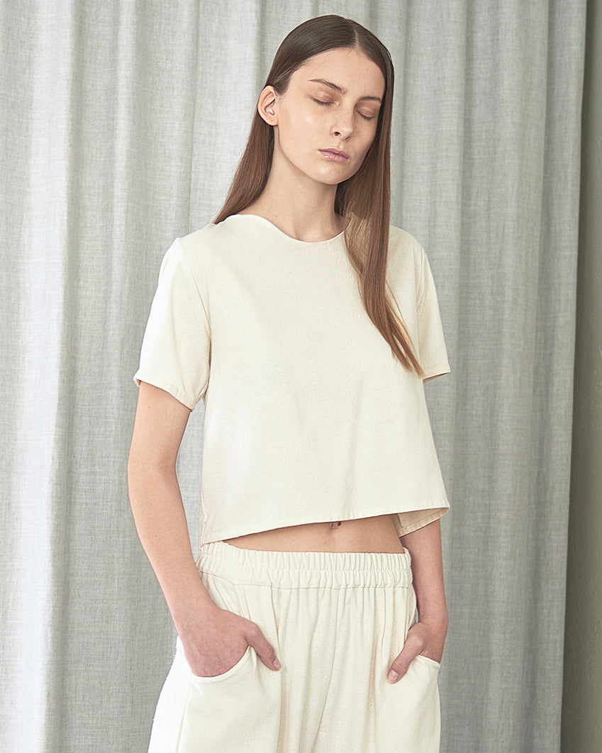 Maria Morgana Clio Top and Hera Pants in raw silk Natural