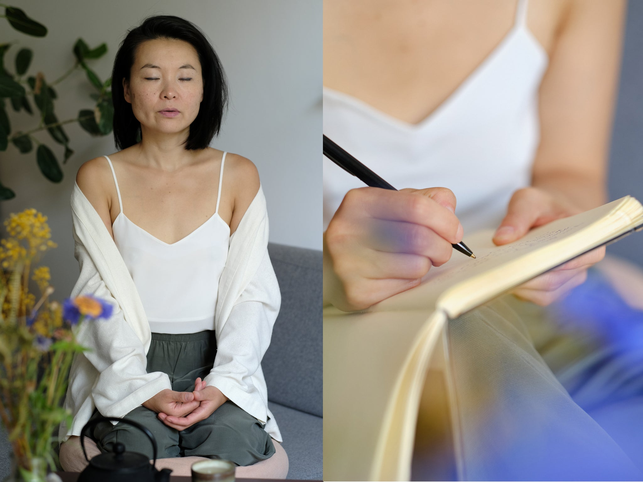Sun Mee Martin practicing mediation, breath work and journaling as self care