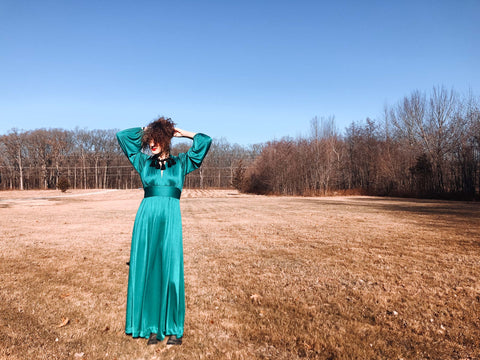 vintage turquoise maxi dress