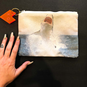 shark printed cosmetic pouch