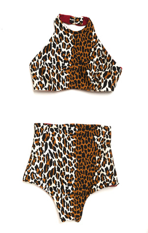 leopard high waisted bikini
