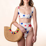 red white and blue star bikini top