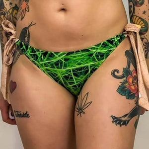 printed tie side bikini bottom