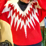 VINTAGE RED WHITE FUZZY SWEATER : MEDIUM - XL : THE FIRECRACKER SWEATER