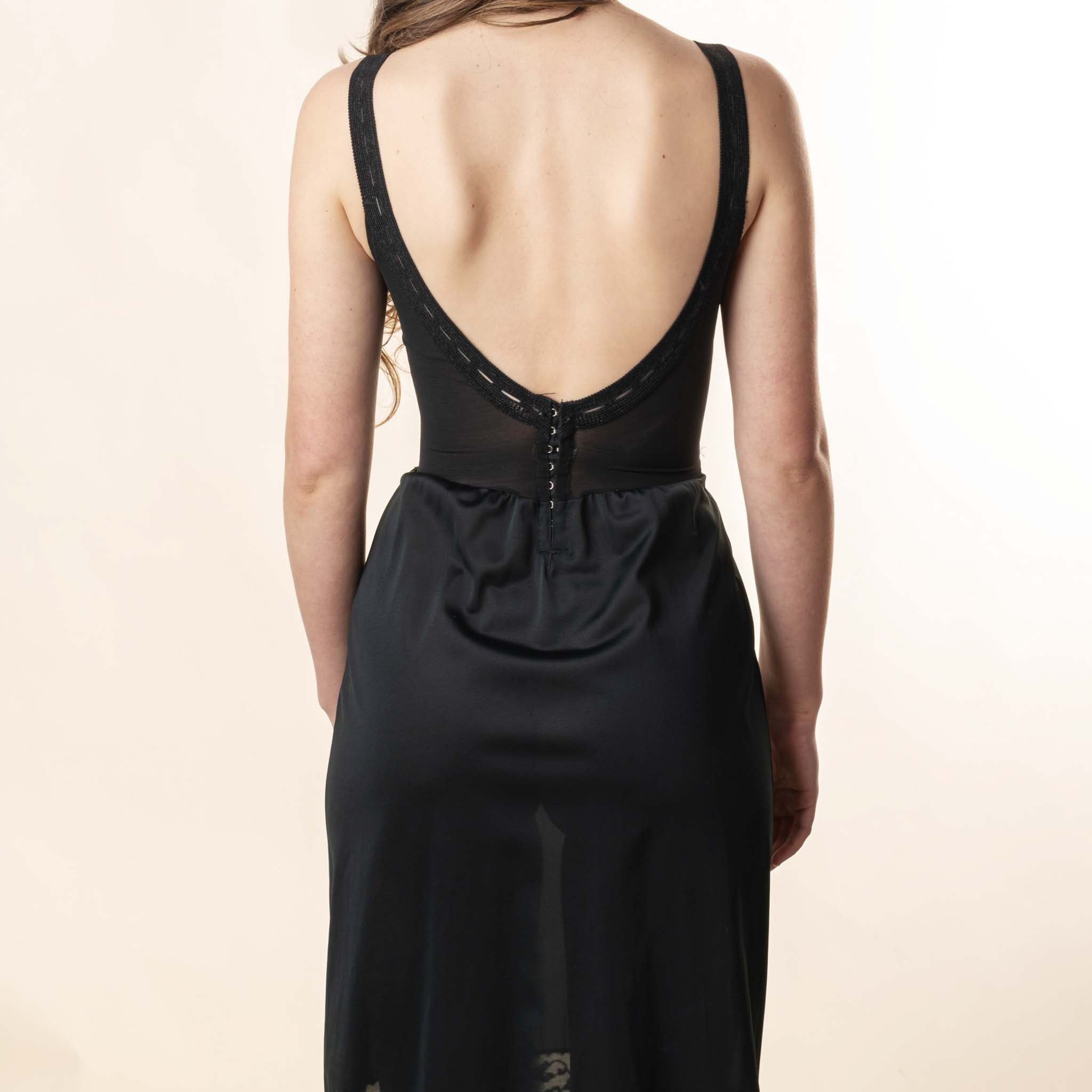 VINTAGE BLACK CORSET SLIP DRESS : XS