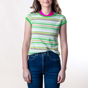 VINTAGE STRIPE TEE : MEDIUM :  FRUIT STRIPE TOP