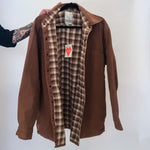 VINTAGE BROWN CHORE COAT WITH PLAID LINING : MEDIUM : THE BEAR WORK SHIRT
