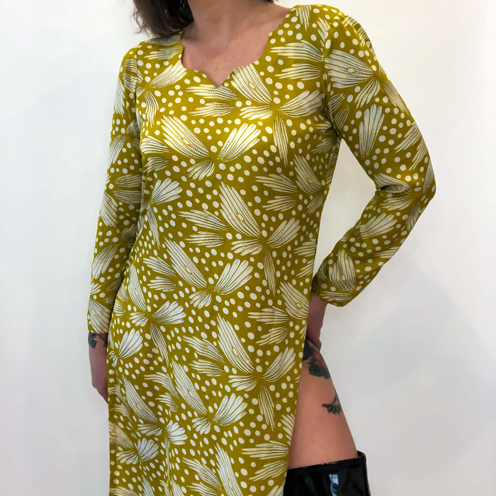 chartreuse silk tunic