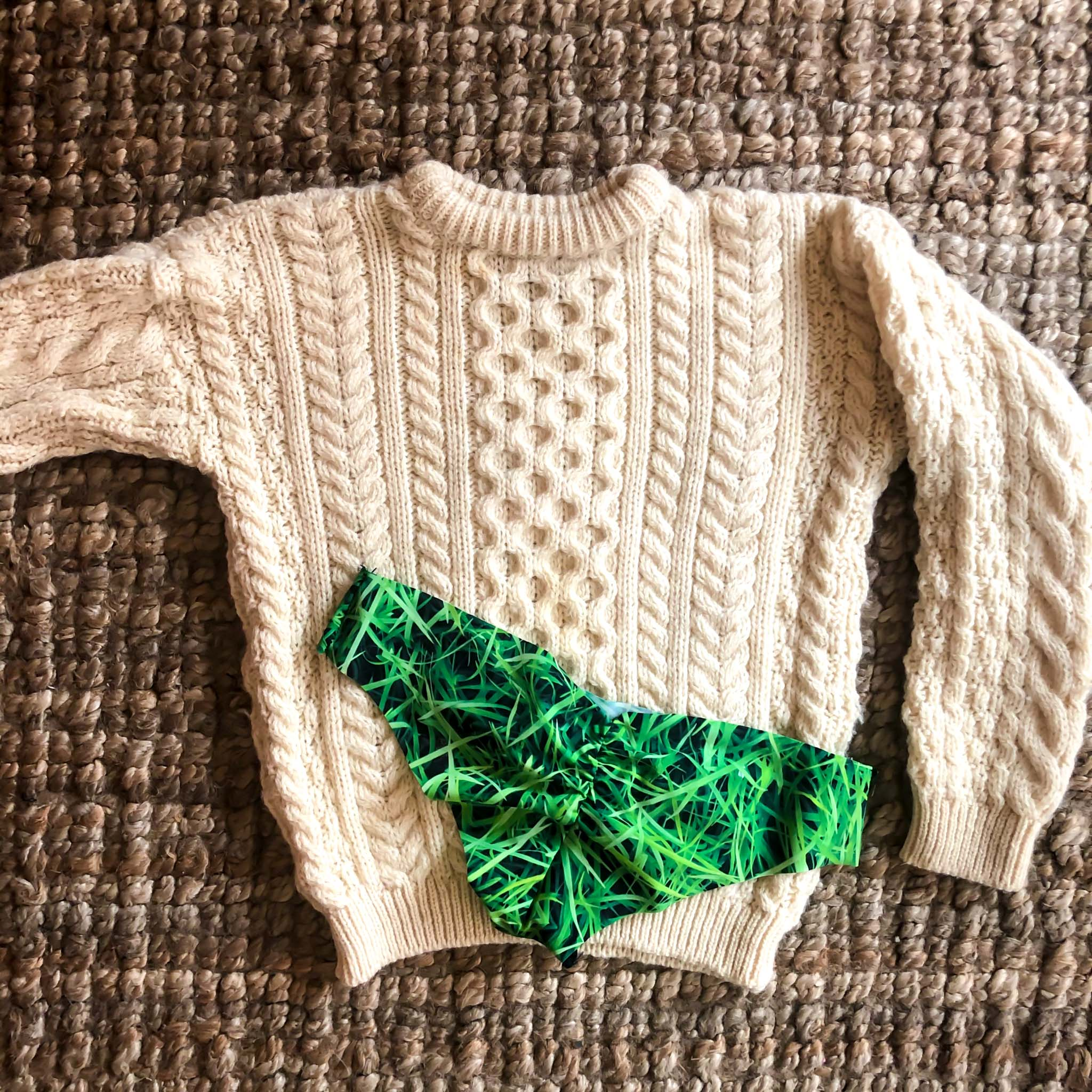 VINTAGE IVORY FISHERMAN'S SWEATER : XS SMALL