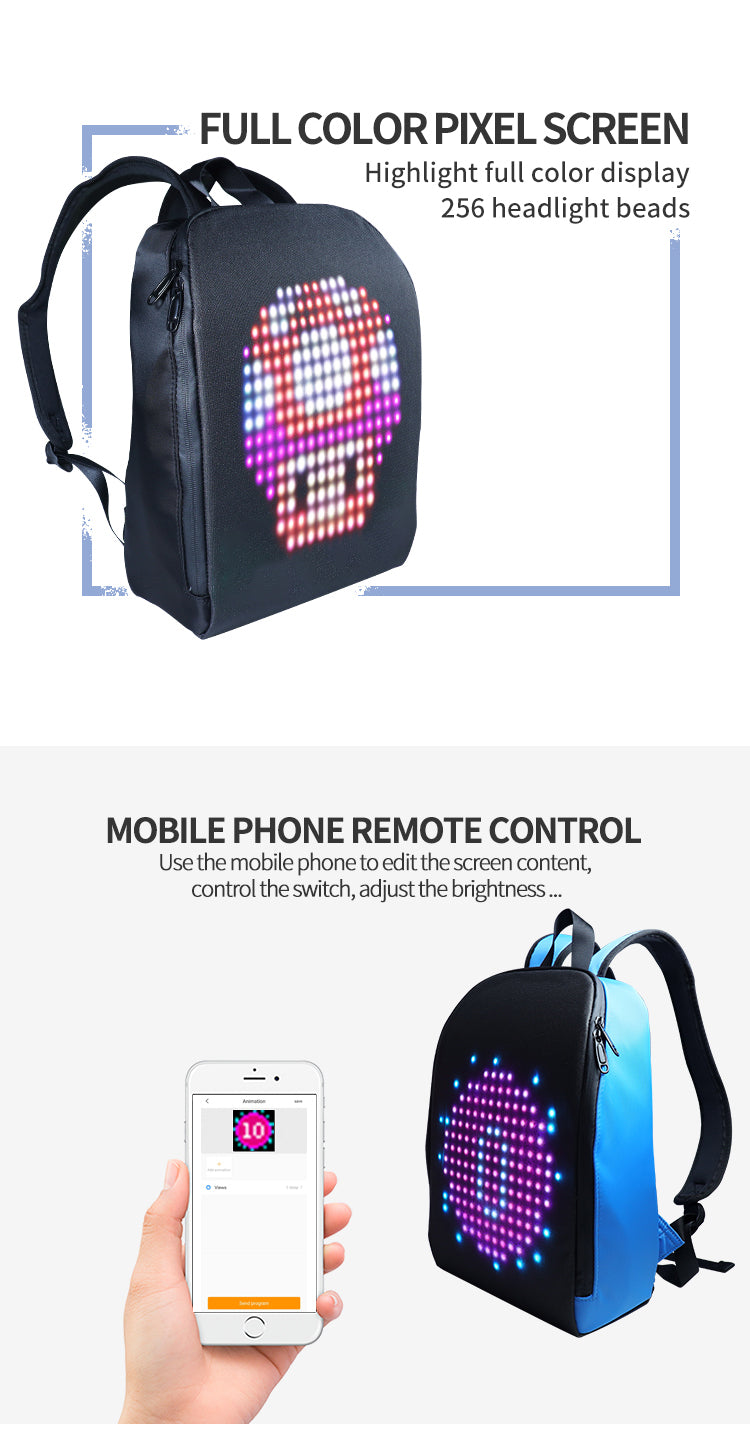 Biosled LED Advertising Light Led Display Backpack Smart WIFI Version APP Control Computer Backpack with customizable LED screen