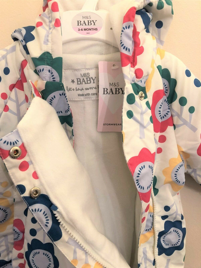 New Baby Snowsuit Stormwear - Exstore M&S - Water Repellent - Cream - Floral Ages 3-6 M