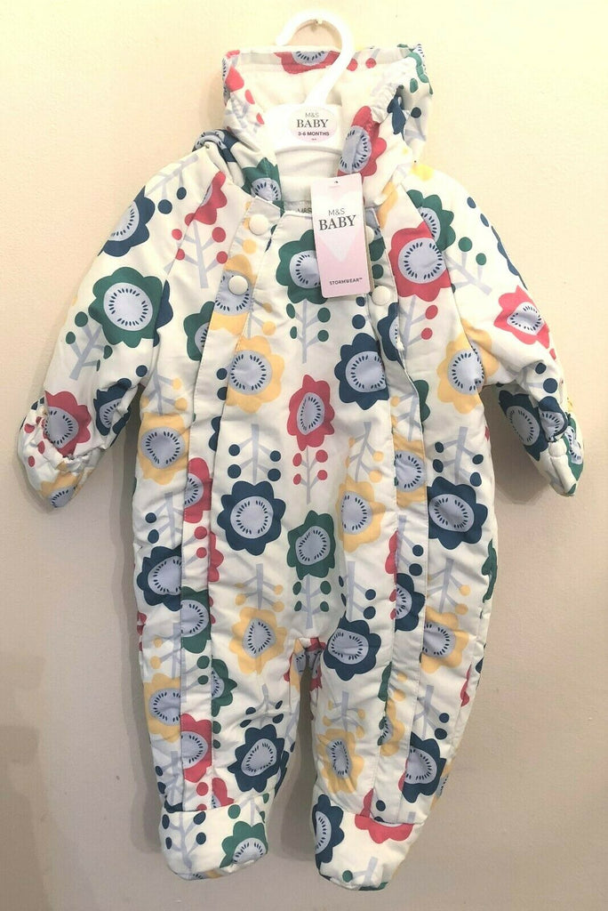 New Baby Snowsuit Stormwear - Exstore M&S - Water Repellent - Cream - Floral Ages 0-9 M