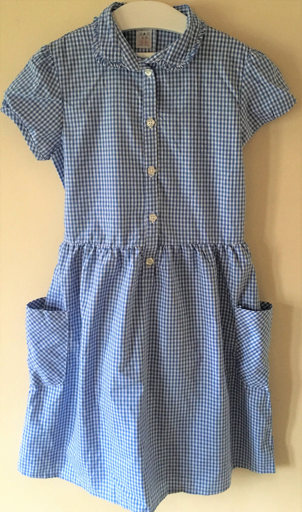 New Girls Summer School Dress Blue Checked - Exstore - Age 6-7 Years