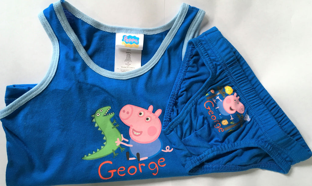 New Boys George Peppa Pig Pants & Vest 2Pc Set - Exstore - White or Blue - Ages 5-8 Yrs