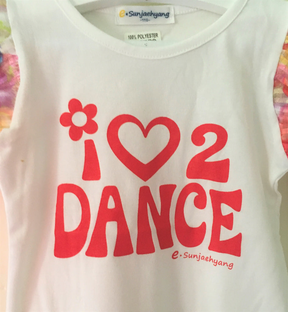 New Girls Frilly Sleeved 'I Love 2 Dance' Tshirt - Exstore - Ages 2-5 Years