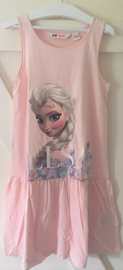 New Girls Frozen Elsa Pale Pink Sleeveless Dress Bagged - Exstore H&M - Ages 8-9 Years