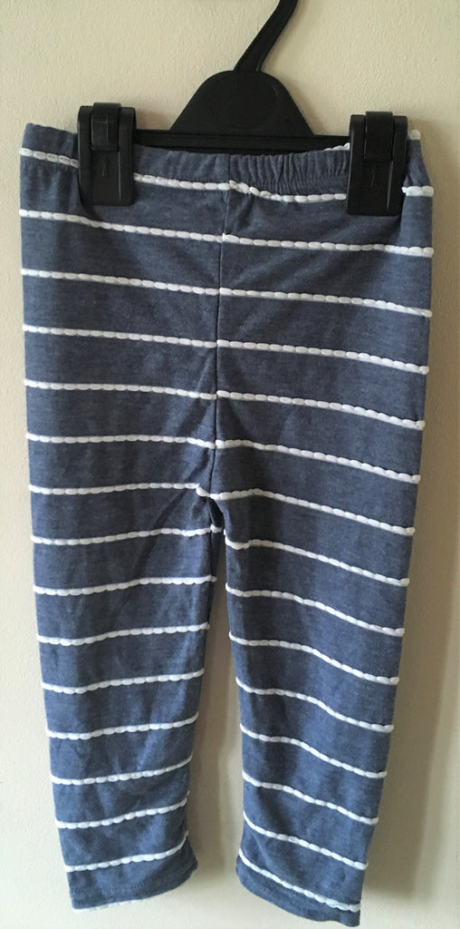 New Girls Marl Blue Stripe Leggings - Exstore Highstreet - Age 2-3 Yrs