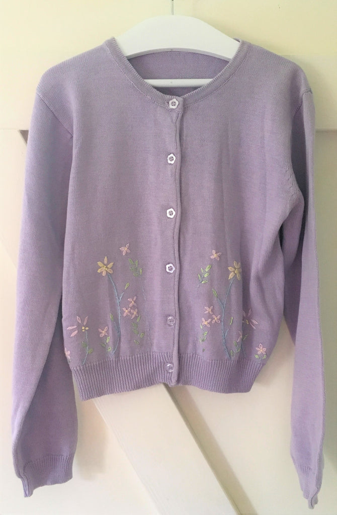 New Girls Lilac Embroidered Floral Cardigan - Exstore Mothercare - Ages 7-8 Years