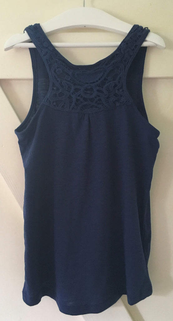 New Girls Crochet Back Sleeveless Vest Navy Blue - Exstore - Ages 8-9 & 10-11 Years
