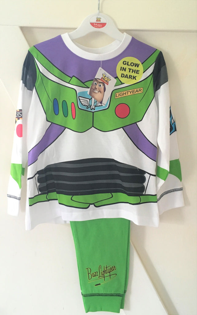 New Boys Disney Toy Story Buzz Lightyear Glow in the Dark Pyjamas - Official - 3-5 Years