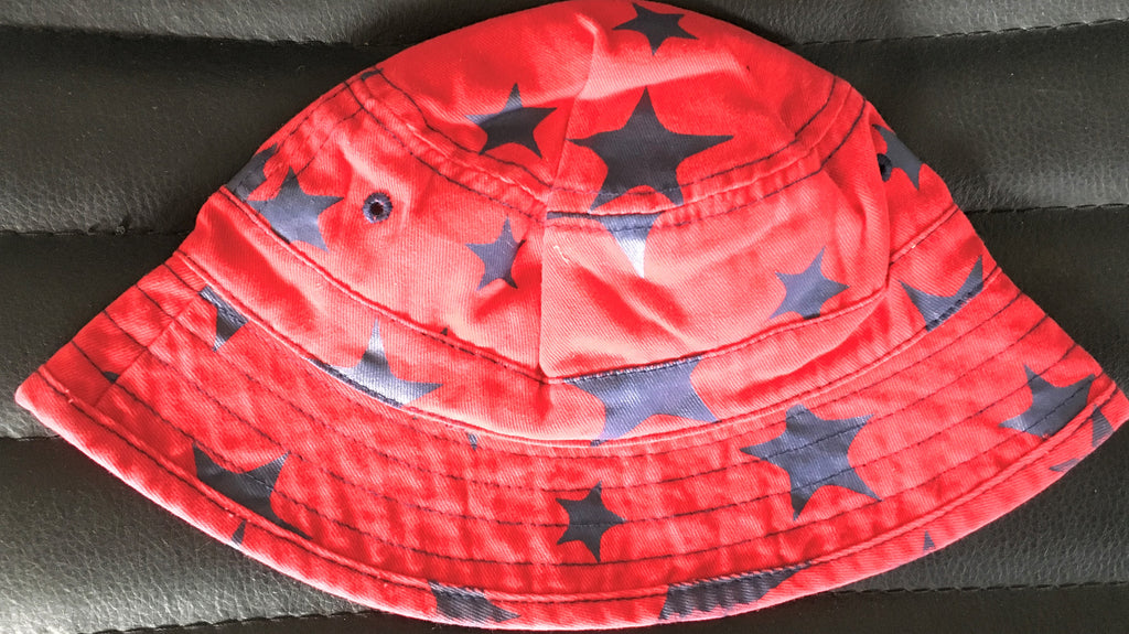 New Exstore Next Boys Fisherman Sun Hat Red Blue Stars 100% Cotton 3-6M