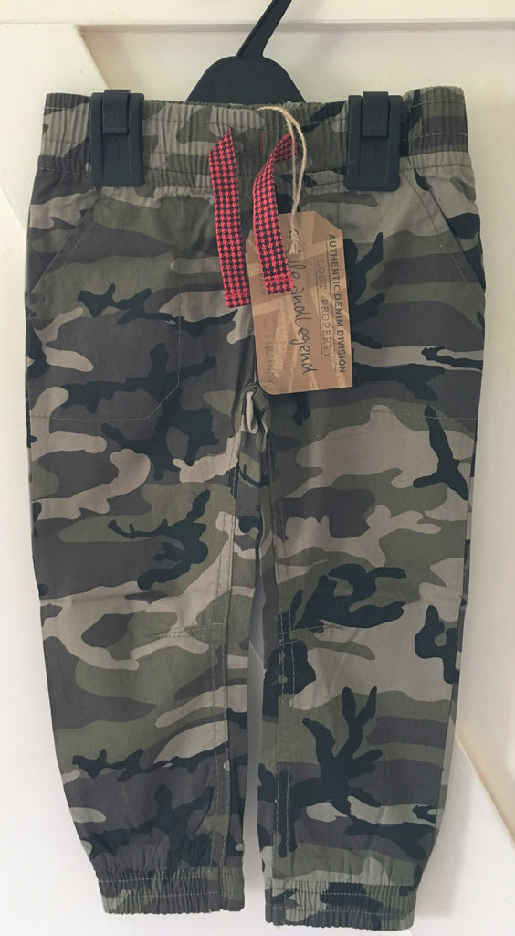 New Life & Legend Boys Camoflauge Elastic Waist Trousers 100% Cotton Ages 2-4 Yr