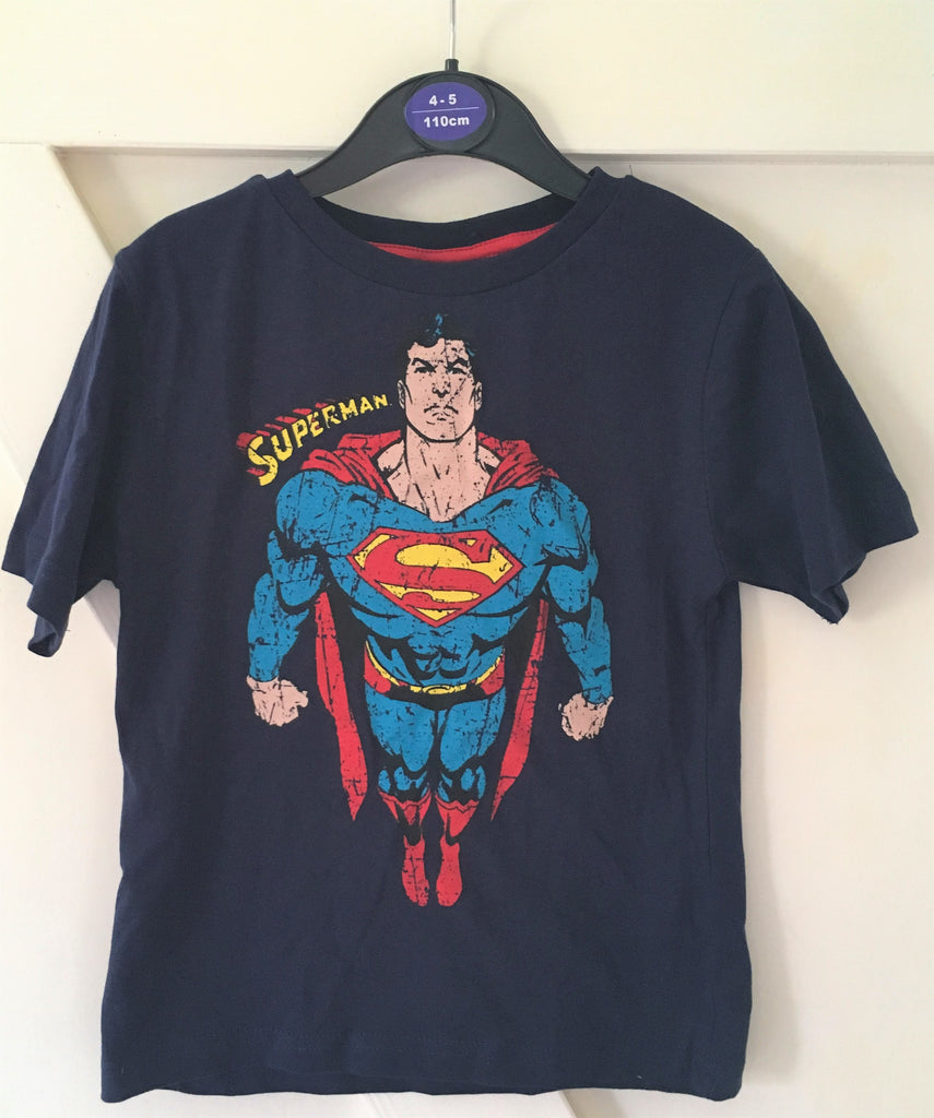 New Boys Superman Tshirt Navy Blue - Exstore Rebel Jnr - Ages 4-6 Years