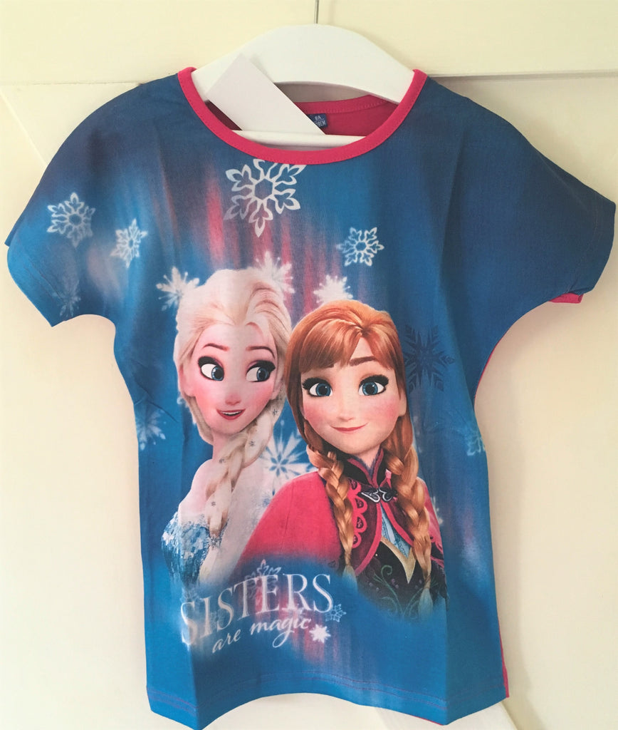 New Disney Girls Frozen Sisters are Magic Tshirt Pink & Blue Exstore - Ages 4-5 6 8 10 Y