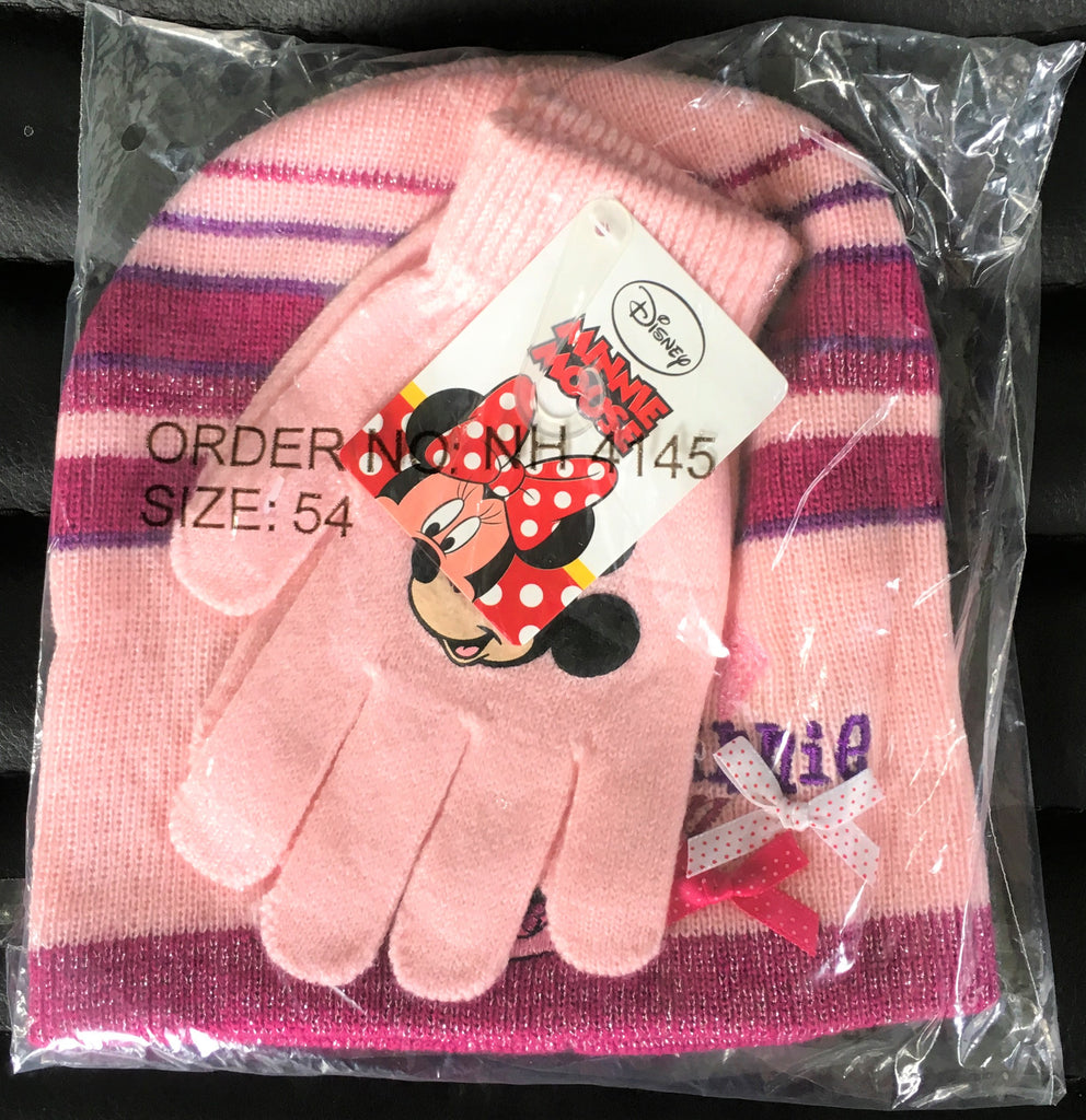 New Disney Minnie Mouse Girls Beanie Hat & Gloves Set 2 Colours - Official Exstore - 2-6 Yrs