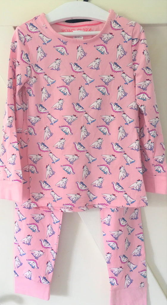 New Exstore Snooze Dinosaur Ski Girls Pyjamas 100% Cotton Ages 7-8 Years