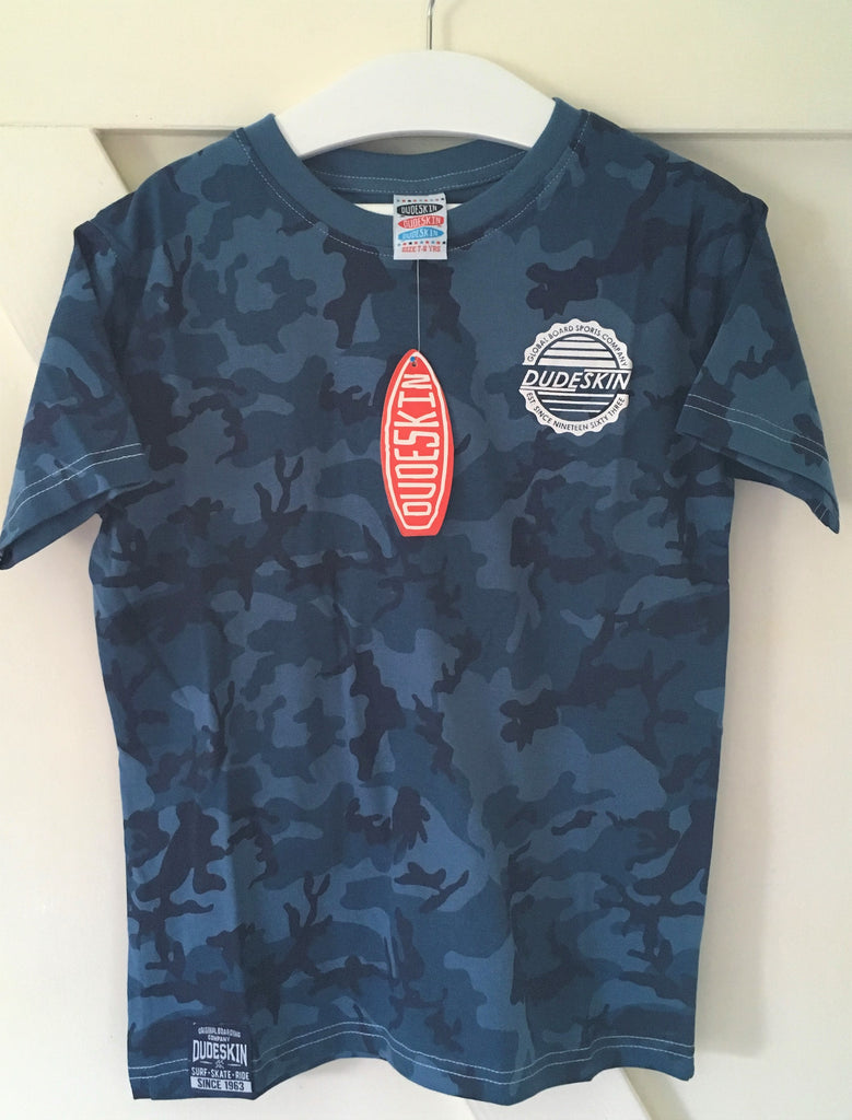 "New Boys Dudeskin Blue Camo ""Surf Skate Ride"" Tshirt - Official Exstore - Sizes 7/8 Years"