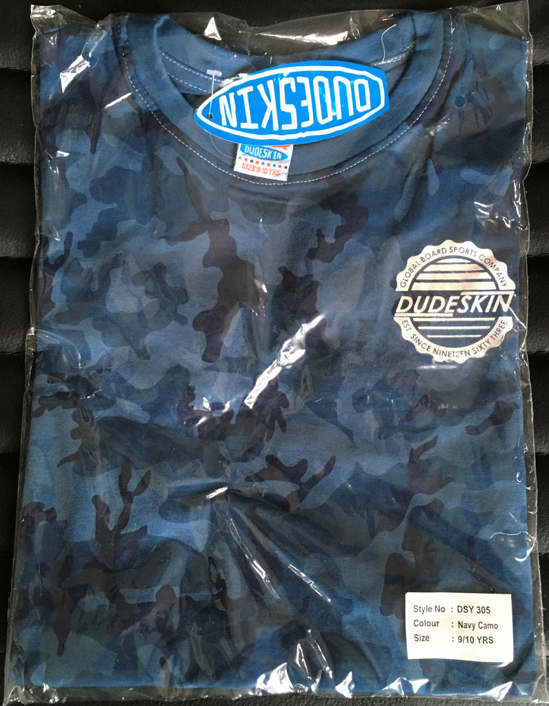 "New Boys Dudeskin Blue Camo ""Surf Skate Ride"" Tshirt - Official Exstore - Sizes 9-10 Years"