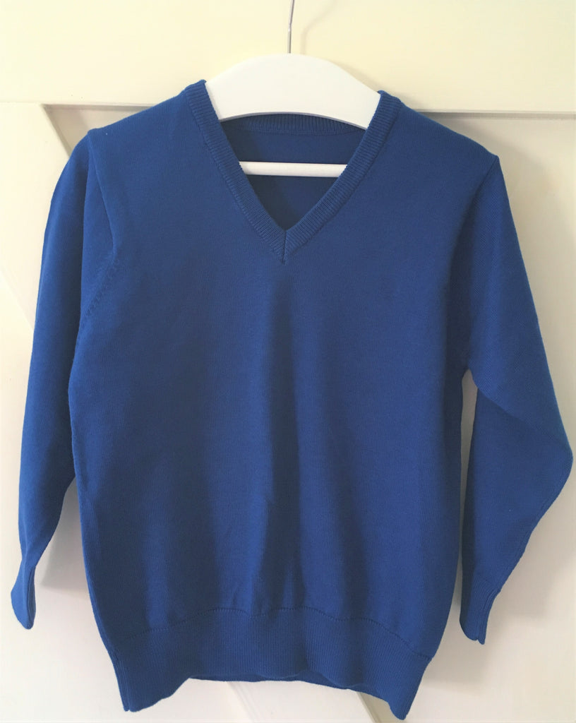 New Boys Girls Blue School Jumper Cotton Blend - Exstore Marks & Spencer's - 5-6 Yrs