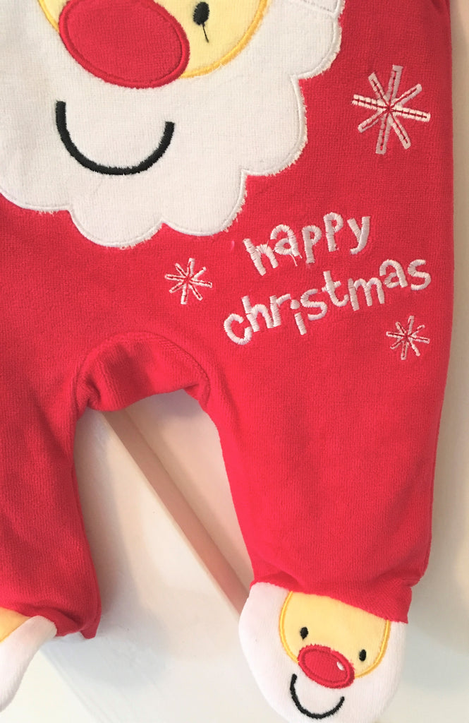 New Baby Happy Christmas Fleece Santa Babygrow Gift - Exstore Rockabye Baby Boutique - Size Newborn